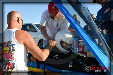 Driver Dave Brant of Brant Speranza-McLeish prepares for his 170.467 mph run at SCTA - Southern California Timing Association's Land Speed Races at El Mirage Dry Lake