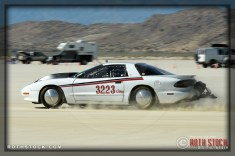 Driver David Gomer of David Gomer Racing on his 196.618 mph run at SCTA - Southern California Timing Association's Land Speed Races at El Mirage Dry Lake
