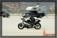 Rider Pat Womack of Womack LSR on his 180.829 mph run at SCTA - Southern California Timing Association's Land Speed Races at El Mirage Dry Lake