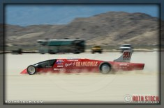 Driver Donnie Hicks of Zoom Zoom Racing on his 190.74 mph run at SCTA - Southern California Timing Association's Land Speed Races at El Mirage Dry Lake
