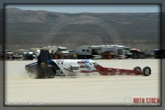 Driver William Freudiger of Hall Clark on his 253.558 mph run at SCTA - Southern California Timing Association's Land Speed Races at El Mirage Dry Lake