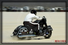 Rider Chet Michaelson of Geranimo Dark Horse on his 146.556 mph run at SCTA - Southern California Timing Association's Land Speed Races at El Mirage Dry Lake