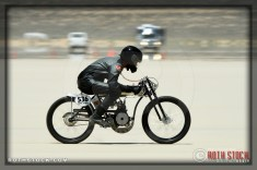 Rider Patrick Dolan of Sportsman Flyer on his 82.074 mph run at SCTA - Southern California Timing Association's Land Speed Races at El Mirage Dry Lake