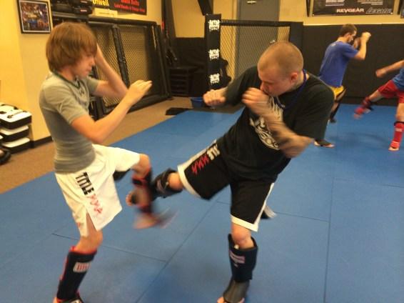 Kickboxing, checking kicks