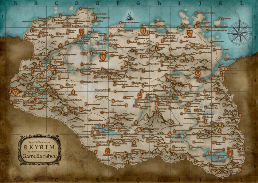 Landkarte von Skyrim
