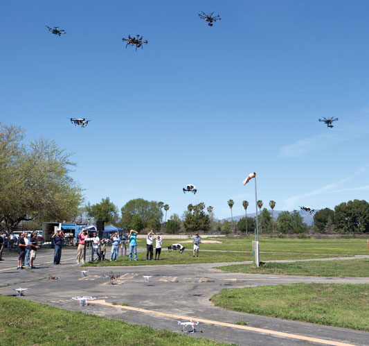 During Drone Day at Apollo Field in Van Nyes, CA a multitude of multirotors filled the sky.