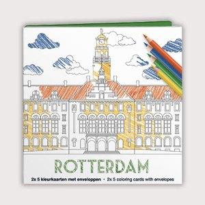 Kleurkaartenmapje van Rotterdam met 10 kaarten