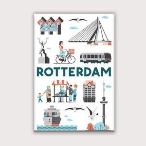 Koelkastmagneet met Rotterdamse iconen