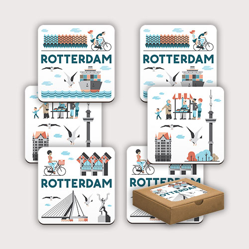 setje met zes Rotterdamse onderzetters
