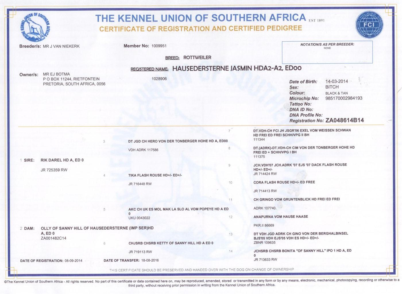 Jasmin KUSA - Pedigree Certificate