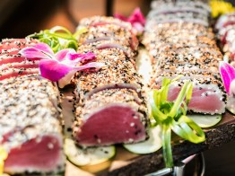 Our Ahi Tuna display is the perfect compliment to your wedding catering. Photo by Lieb Photographic LLC