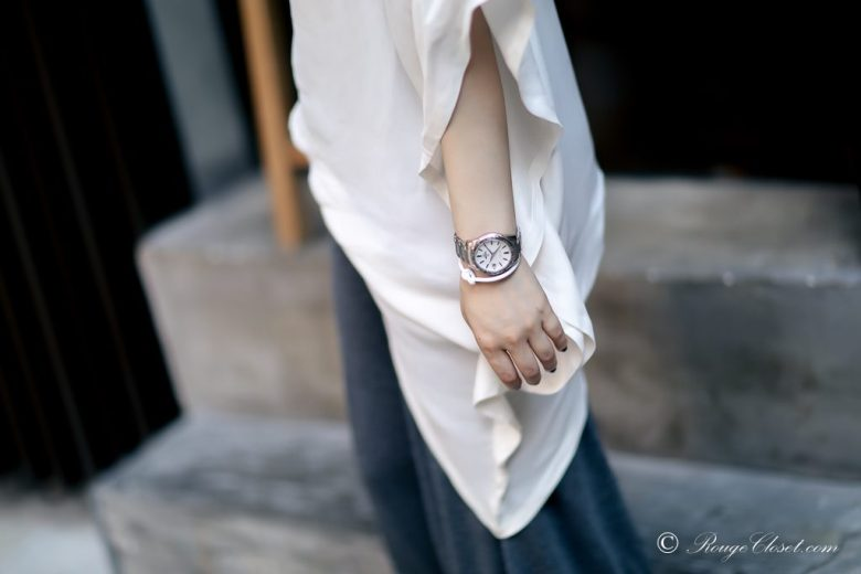 nudite asymmetrical drape top dress, nudite, Acne Studios, Celine Knot Bracelet, Grand Seiko, street style, white top, grey culottes, personal style, monochrome, black and white