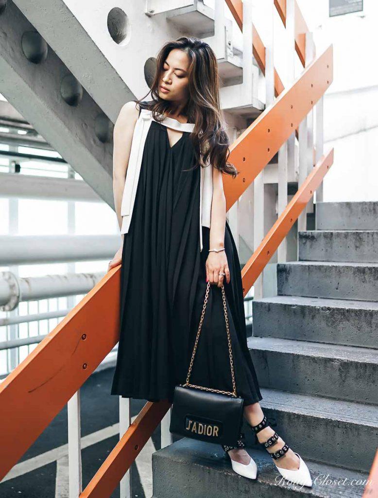 ASOS WHITE Pleat Detail Midi Dress
