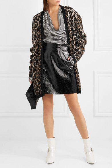 Magda Butrym Rochester leopard-intarsia wool and cashmere-blend cardigan