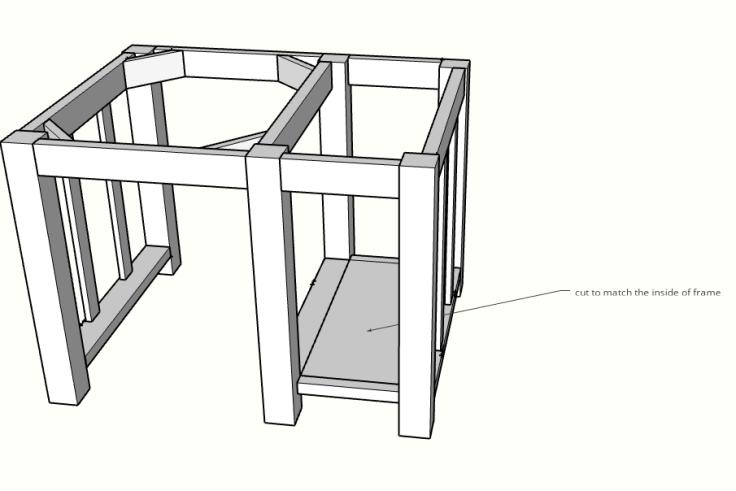 DIY kitchen island shelf