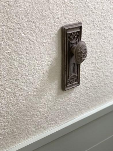 HGTVs Fixer Upper Hot Sauce House inspired powder room Hobby Lobby knob
