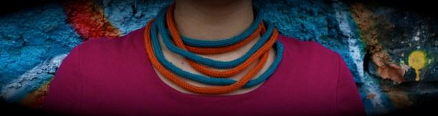 Tubolari di lana - arancio e petrolio