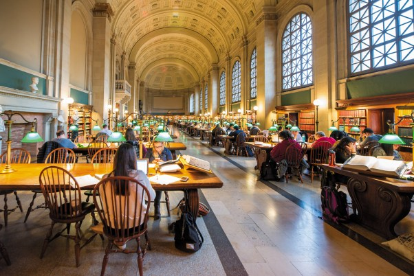 Bates Hall, the reading room at the Boston Public Library, 2017