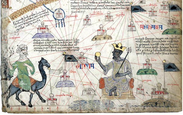 Mansa Musa, the king of Mali, approached by a Berber on camelback; detail from <i>The Catalan Atlas</i>, attributed to the Majorcan mapmaker Abraham Cresques, 1375