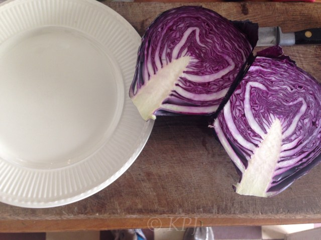Red cabbage, ready for pickle prep