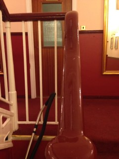 Shiny, shiny banister. And vacuum cleaner