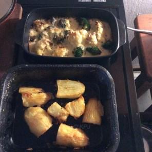 Caul, broc and roast potatoes