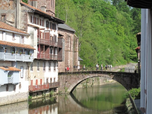 Bridge over the River Nive at Saint-Jean-Pied-de Port in the foothills of the Pyrenees