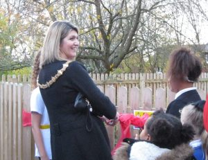 The Mayor of Rotherham officially opens our pond area.