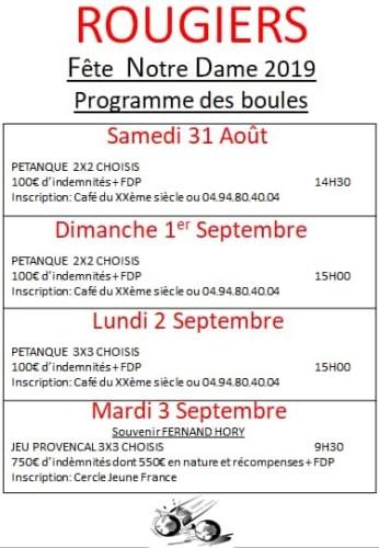 Programme Concours de boules Fête de Notre Dame