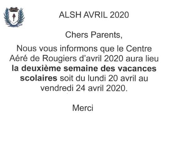ALSH  Avril 2020