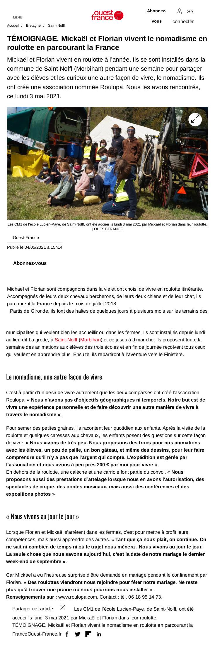 article de presse : ouest france du 04 05 2021