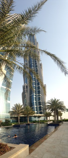 Panorama of one of the two towers of our hotel, the tallest hotel in the world!