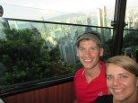 Going up to Victoria Peak on the historic cable car