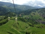 Taking the gondola up, spectacular views