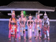 Traditional Indonesian ballet in Yogya. Main performers posing here after the show