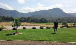 Posing at another vineyard in the Hunter Valley