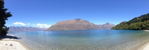 Pano at the end of a mtn bike trail along the lake in Queenstown - lots of pretty little coves and beaches like this