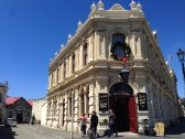 Historic limestone buildings in the port district of Oamaru