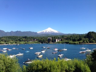 Pucon harbor with volcano