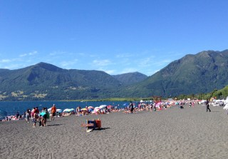 Pucon's main beach on a hot summer's day