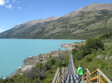 Walking around the viewing decks at Perito Moreno glacier and lakes