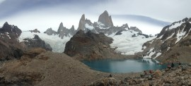 Up close at lake in front of Fitz Roy - we met two Americans with two Argentinian guides hiking up that were going to climb it - cool, but crazy!