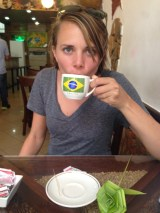 Jen enjoying Brazilian coffee