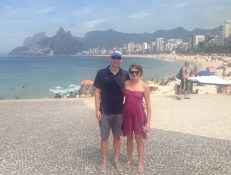 Pic on Ipanema beach the morning we first arrived in Rio - it was a bit hazy...