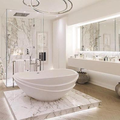 Luxurious marble bathroom designs (23)