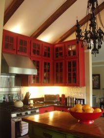 Amazing black and red kitchen decor 52