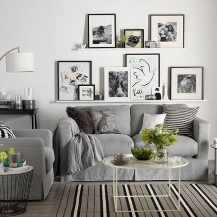 Beautiful grey living room decor ideas 54