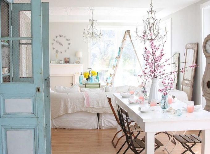 Beautiful shabby chic dining room decor ideas 26