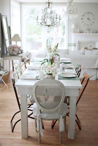 Beautiful shabby chic dining room decor ideas 31