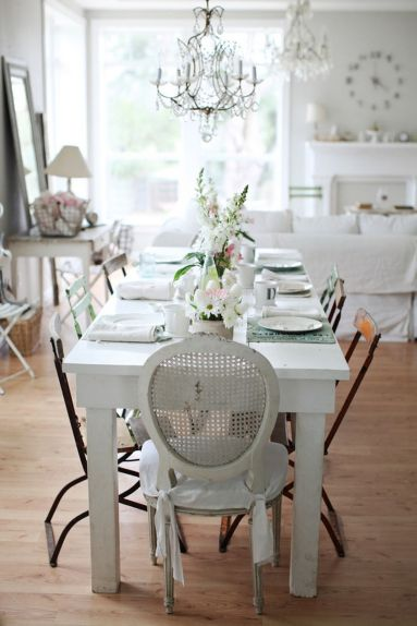 Beautiful shabby chic dining room decor ideas 31